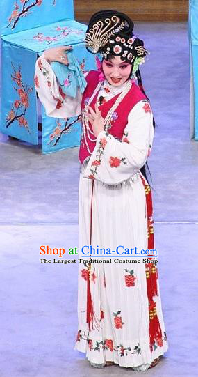 Chinese Beijing Opera Xiaodan You Sanjie Apparels Costumes and Headdress You Sisters in the Red Chamber Traditional Peking Opera Dress Young Lady Garment