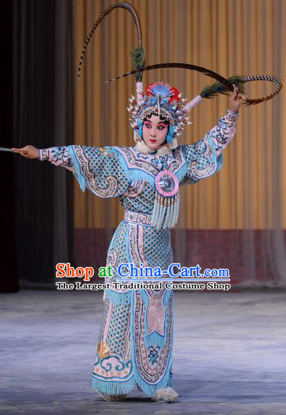 Chinese Beijing Opera Wudan Zhang Yue E Apparels Costumes and Headdress Hong Tao Shan Traditional Peking Opera Martial Female Dress General Garment
