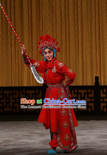 Chinese Beijing Opera Martial Female Apparels Costumes and Headdress Hongqiao with the Pearl Traditional Peking Opera Swordswoman Red Dress Garment