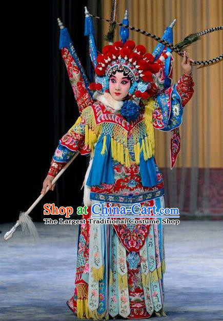 Chinese Beijing Opera Wudan Kao Armor Suit with Flags Zhang Yue E Apparels Costumes and Headdress Hong Tao Shan Traditional Peking Opera General Dress Garment