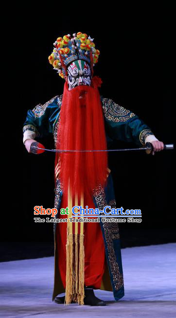 Kirin Pavilion Chinese Peking Opera Wusheng Martial Male Garment Costumes and Headwear Beijing Opera Apparels Swordsman Blue Clothing