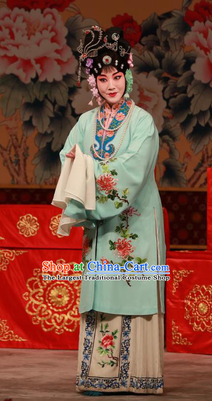Chinese Beijing Opera Hua Tan You Erjie Apparels Costumes and Headdress You Sisters in the Red Chamber Traditional Peking Opera Young Mistress Dress Garment