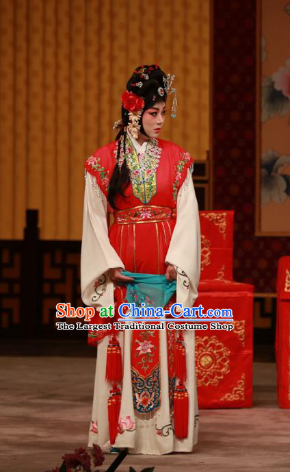 Chinese Beijing Opera Diva You Sanjie Apparels Costumes and Headdress You Sisters in the Red Chamber Traditional Peking Opera Actress Dress Garment