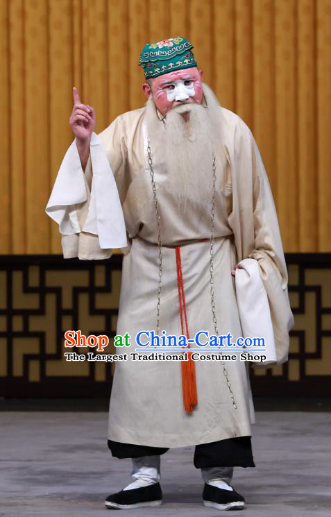 Fa Men Temple Chinese Peking Opera Laosheng Garment Costumes and Headwear Beijing Opera Elderly Male Apparels Constable Liu Gongdao Clothing