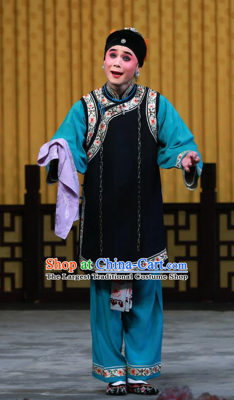 Chinese Beijing Opera Laodan Apparels Elderly Female Costumes and Headdress Fa Men Temple Traditional Peking Opera Woman Matchmaker Liu Dress Garment