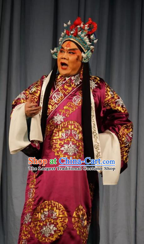Number One Scholar Matchmaker Chinese Peking Opera Martial Male Garment Costumes and Headwear Beijing Opera General Fu Dingkui Apparels Takefu Clothing
