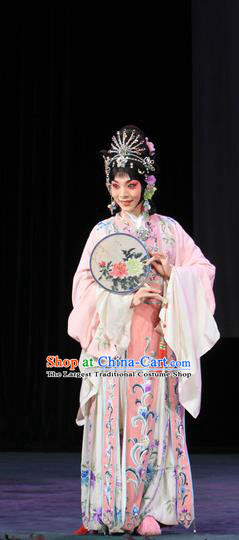 Chinese Beijing Opera Young Beauty Apparels Costumes and Headdress Luo Yang Gong Traditional Peking Opera Actress Pink Dress Princess Garment