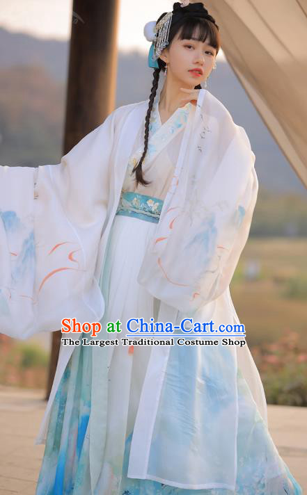 Chinese Traditional Jin Dynasty Noble Princess Embroidered Hanfu Dress Ancient Goddess Apparels Historical Costumes Complete Set