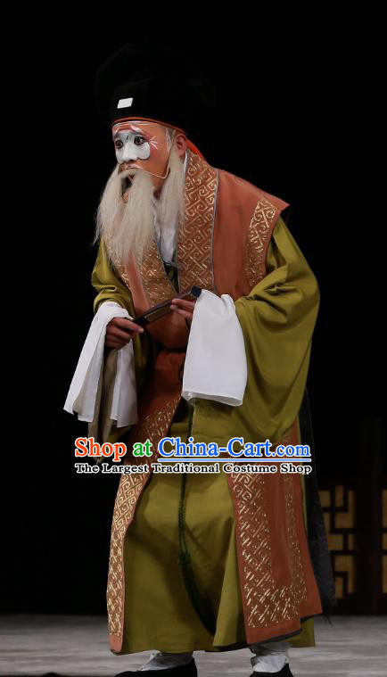 Wu Long Yuan Chinese Peking Opera Elderly Male Garment Costumes and Headwear Beijing Opera Chou Apparels Clown Clothing