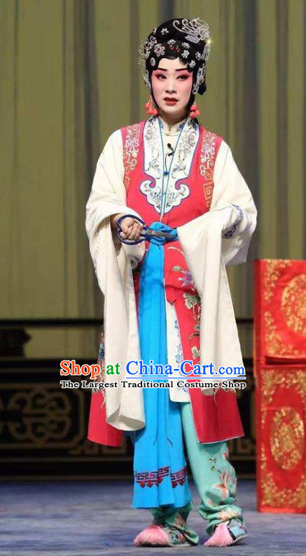 Chinese Beijing Opera Actress Hua Tan Yan Xijiao Apparels Costumes and Headdress Wu Long Yuan Traditional Peking Opera Young Lady Dress Diva Garment