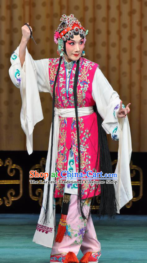 Chinese Beijing Opera Actress Young Lady Apparels Costumes and Headdress Wu Long Yuan Traditional Peking Opera Consort Yan Xijiao Dress Hua Tan Garment