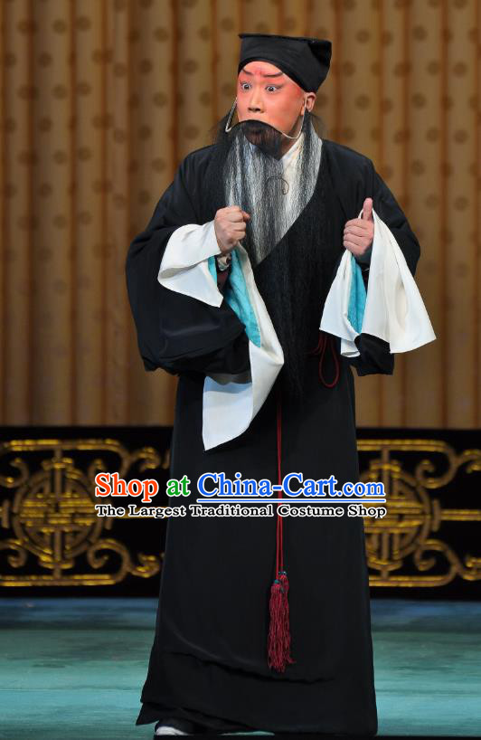 Wu Long Yuan Chinese Peking Opera Old Man Garment Costumes and Headwear Beijing Opera Laosheng Apparels Elderly Male Song Jiang Clothing