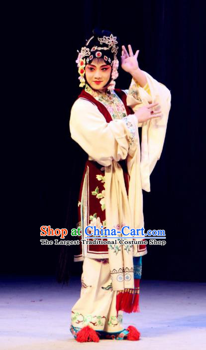 Chinese Beijing Opera Actress Yan Xijiao Apparels Costumes and Headdress Wu Long Yuan Traditional Peking Opera Consort Dress Young Lady Garment