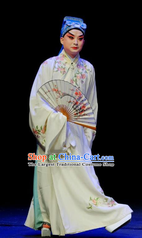 Wu Long Yuan Chinese Peking Opera Niche Garment Costumes and Headwear Beijing Opera Young Male Apparels Scholar Zhang Wenyuan Clothing