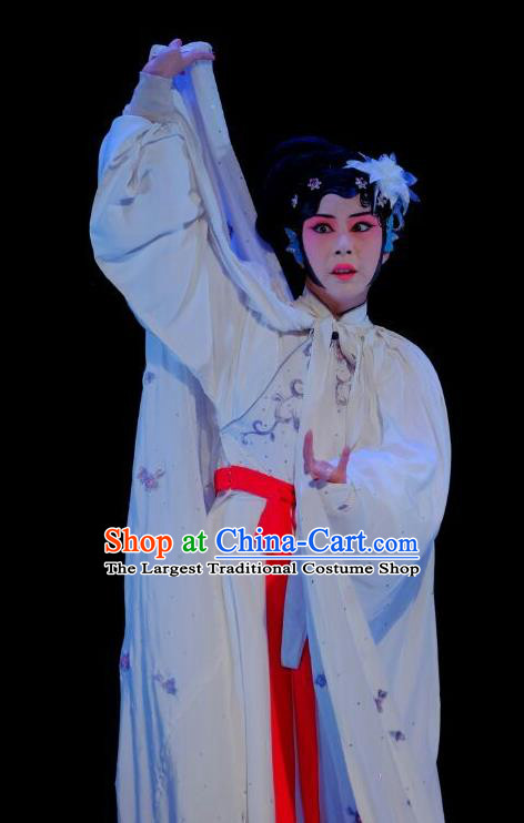 Chinese Beijing Opera Tsing Yi Yan Xijiao Apparels Young Female Costumes and Headdress Wu Long Yuan Traditional Peking Opera Actress White Dress Garment