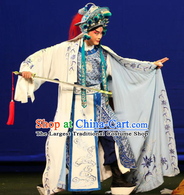 Da Meng Chang Ge Chinese Peking Opera Takefu Garment Costumes and Headwear Beijing Opera Martial Male Apparels General Xin Qiji Armor Clothing
