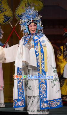 Chinese Beijing Opera Huadan Apparels Young Lady Costumes and Headdress Imperial Concubine Mei Traditional Peking Opera Actress White Dress Court Lady Garment