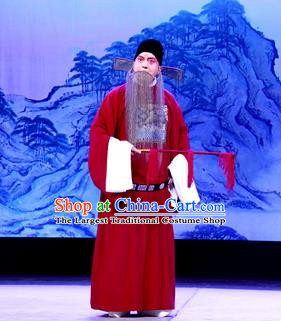Tun Wu Hen Chinese Peking Opera Elderly Male Garment Costumes and Headwear Beijing Opera Laosheng Apparels Official Zhuge Jin Clothing