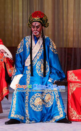 Stealing Silver Pot Chinese Peking Opera Wusheng Garment Costumes and Headwear Beijing Opera Takefu Apparels Martial Male Blue Clothing