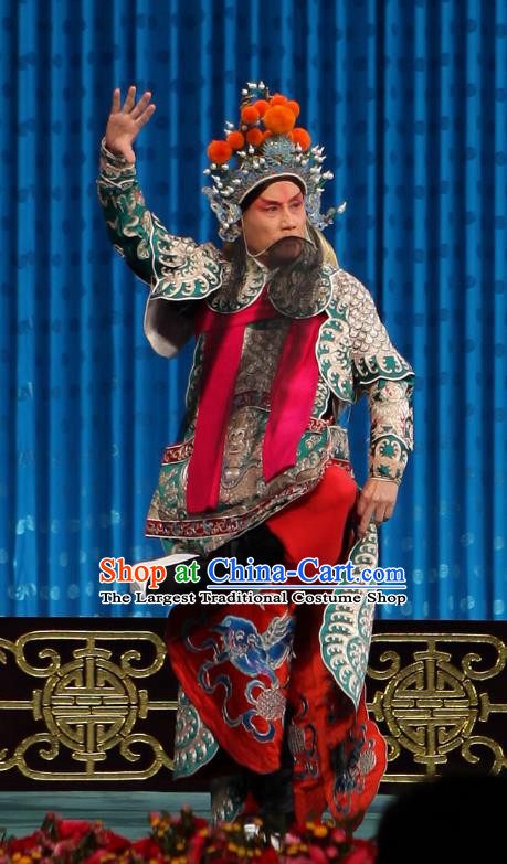 Qun Jie Hua Chinese Peking Opera Military Officer Martial Male Garment Costumes and Headwear Beijing Opera Apparels General Gan Ning Green Armor Clothing