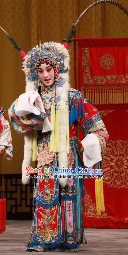 Chinese Beijing Opera Princess Apparels Costumes and Headdress Bai Hua Zeng Jian Traditional Peking Opera Hua Tan Dress Actress Garment