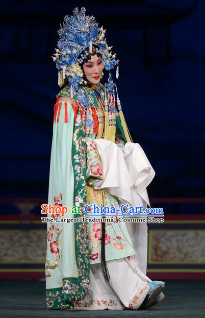 Chinese Beijing Opera Court Lady Apparels Young Female Costumes and Headdress Imperial Concubine Mei Traditional Peking Opera Hua Tan Dress Diva Garment