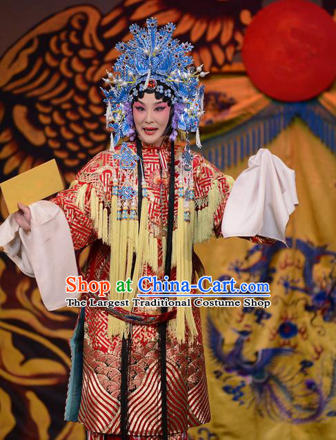 Chinese Beijing Opera Actress Apparels Court Lady Costumes and Headdress Imperial Concubine Mei Traditional Peking Opera Hua Tan Dress Garment