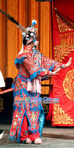Chinese Beijing Opera Female Swordsman Jiang Huyou Apparels Costumes and Headdress Bai Hua Zeng Jian Traditional Peking Opera Xiaodan Dress Servant Girl Garment