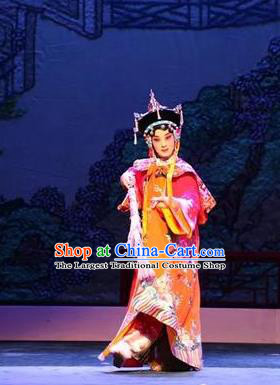 Chinese Beijing Opera Qing Dynasty Court Lady Apparels Costumes and Headdress Nan Hai Zi Traditional Peking Opera Imperial Consort Dong E Dress Garment