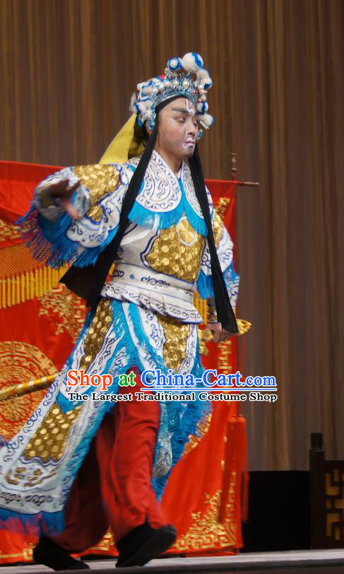 Imperial Concubine Mei Chinese Peking Opera Soldier Armor Suit Garment Costumes and Headwear Beijing Opera Takefu Apparels Martial Male Clothing