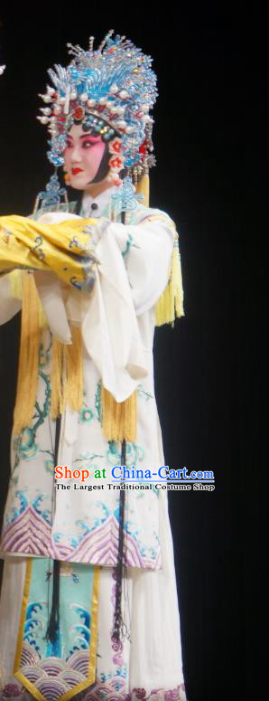 Chinese Beijing Opera Court Lady Hua Tan Apparels Costumes and Headdress Imperial Concubine Mei Traditional Peking Opera Diva Noble Female Dress Garment