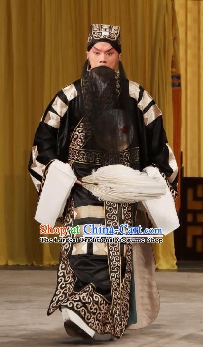 Tun Wu Hen Chinese Peking Opera Military Counsellor Garment Costumes and Headwear Beijing Opera Laosheng Apparels Elderly Male Zhuge Liang Clothing