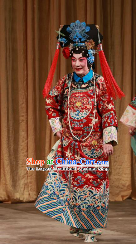 Chinese Beijing Opera Noble Mistress Han Cuizhu Apparels Diva Costumes and Headdress Mei Yu Pei Traditional Peking Opera Hua Tan Dress Qing Dynasty Red Garment