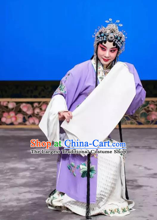Chinese Beijing Opera Actress Apparels Young Female Costumes and Headdress Han Ming Fei Traditional Peking Opera Hua Tan Wang Zhaojun Dress Diva Garment