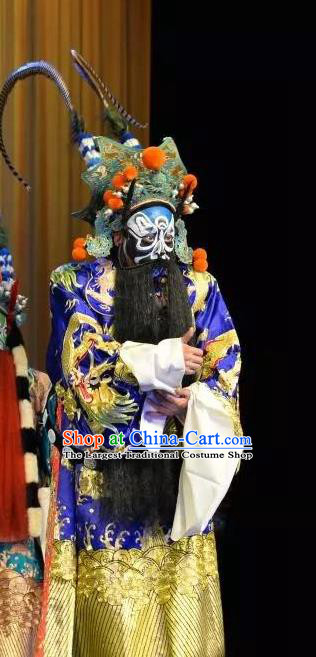 Han Ming Fei Chinese Peking Opera Elderly Male Garment Costumes and Headwear Beijing Opera Laosheng Apparels King Clothing