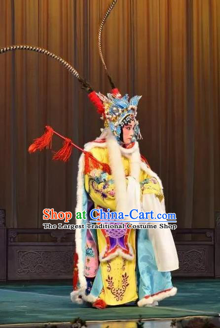 Chinese Beijing Opera Female Swordsman Apparels Costumes and Headdress Han Ming Fei Traditional Peking Opera Blues Dress Diva Wang Zhaojun Garment