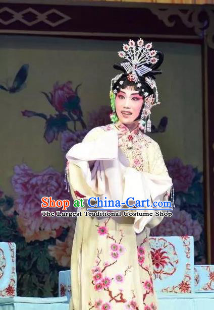 Chinese Beijing Opera Young Female Apparels Costumes and Headdress Han Ming Fei Traditional Peking Opera Actress Wang Zhaojun Dress Hua Tan Garment
