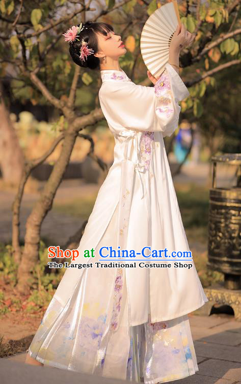 Chinese Ancient Patrician Lady Historical Costumes Traditional Embroidered Hanfu Dress Ming Dynasty Garment for Women