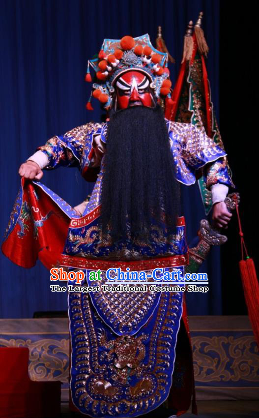 Xue Gang Fan Tang Chinese Bangzi Opera General Zhang Long Kao Apparels Costumes and Headpieces Traditional Shanxi Clapper Opera Military Officer Garment Armor Clothing