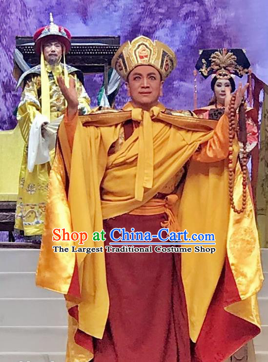 Sixth Panchen Chinese Bangzi Opera Monk Apparels Costumes and Headpieces Traditional Hebei Clapper Opera Young Male Garment Cassock Clothing