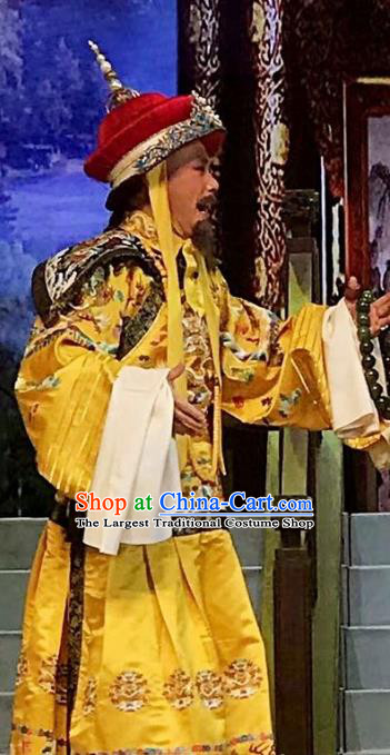 Sixth Panchen Chinese Bangzi Opera Emperor Qianlong Apparels Costumes and Headpieces Traditional Hebei Clapper Opera Elderly Male Garment Monarch Clothing