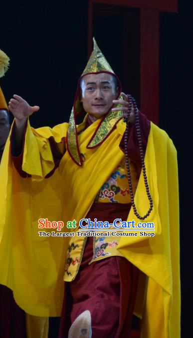 Sixth Panchen Chinese Bangzi Opera Lama Apparels Costumes and Headpieces Traditional Hebei Clapper Opera Tibetan Monk Garment Clothing
