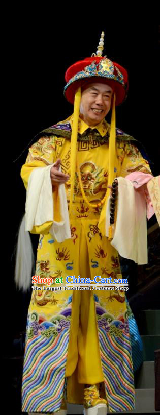 Sixth Panchen Chinese Bangzi Opera Monarch Apparels Costumes and Headpieces Traditional Hebei Clapper Opera Emperor Qianlong Garment Clothing