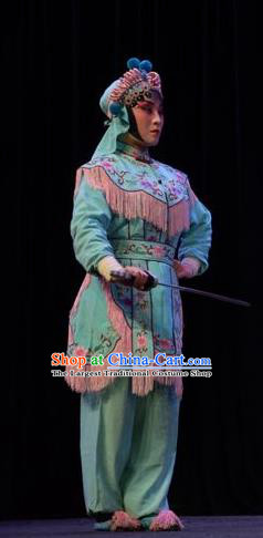 Chinese Jin Opera Female Soldier Garment Costumes and Headdress Li Hua Return Tang Traditional Shanxi Opera Wudan Dress Swordswoman Apparels
