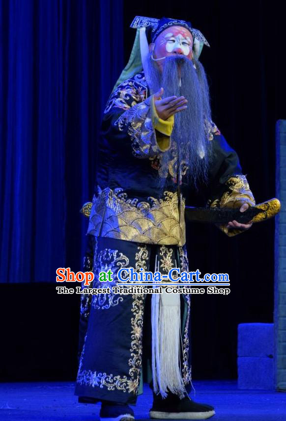 Li Hua Return Tang Chinese Shanxi Opera Elderly Soldier Apparels Costumes and Headpieces Traditional Jin Opera Garment Clown Clothing