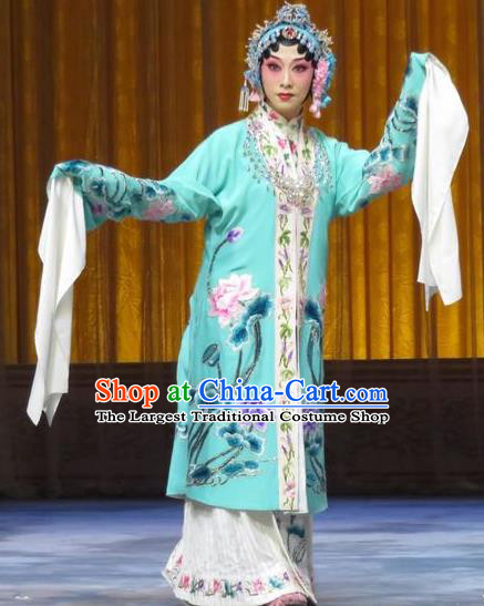 Chinese Hebei Clapper Opera Diva Yu Suqiu Garment Costumes and Headdress The Story of Jade Bracelet Traditional Bangzi Opera Actress Dress Rich Lady Apparels
