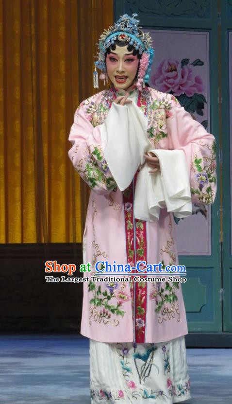 Chinese Hebei Clapper Opera Actress Yu Suqiu Garment Costumes and Headdress The Story of Jade Bracelet Traditional Bangzi Opera Hua Tan Dress Diva Apparels