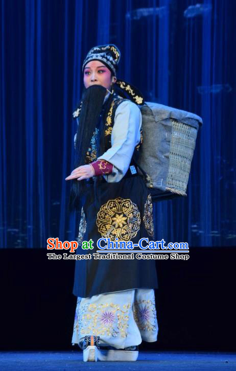 Tao Jin An Chinese Shanxi Opera Elderly Male Apparels Costumes and Headpieces Traditional Jin Opera Laosheng Garment Censor Han Liang Clothing