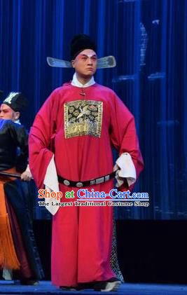 Tao Jin An Chinese Shanxi Opera Clown Apparels Costumes and Headpieces Traditional Jin Opera Chou Role Garment Magistrate An Yuanzhen Clothing