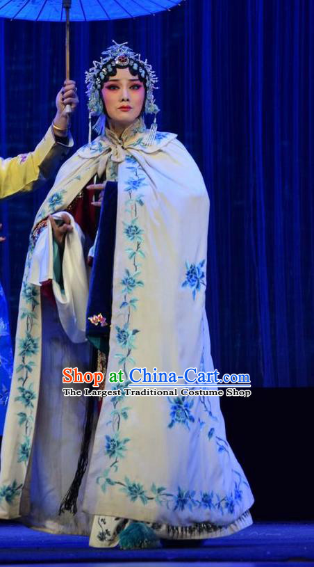 Chinese Jin Opera Young Mistress Garment Costumes and Headdress Tao Jin An Traditional Shanxi Opera Actress Dress Madam Apparels